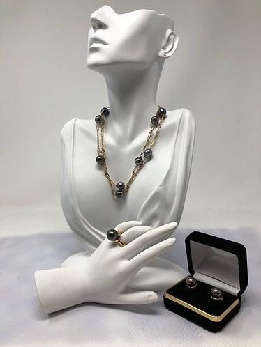 18K Black Pearl Jewelry Set (Necklace, Ring & Earrings)