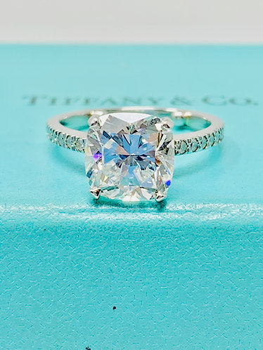 Tiffany & Co. Novo Cushion G VVS1 3.32CT Diamond Platinum Engagement Ring