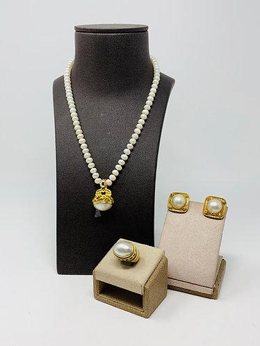 14K Yellow Gold Estate Freshwater Pearl Set *Unique Design*
