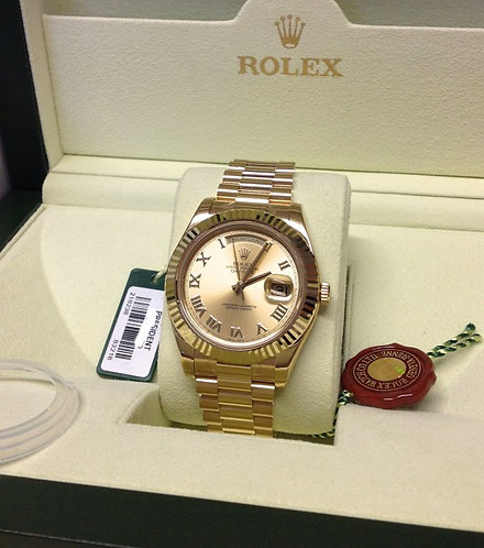 Rolex Day-Date II 218238 41MM Yellow Champagne Roman Numeral Face