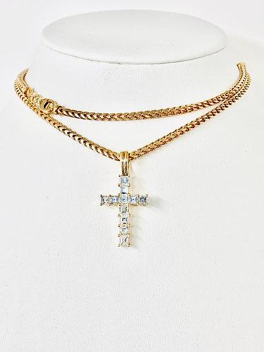 18K Rose Gold Asscher Cut Diamond Cross