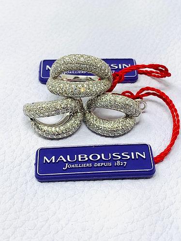Mauboussin 18K White Gold Pave Diamond Crossover Earring & Ring Set