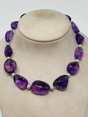 18K White Gold Amethyst & Diamond Necklace