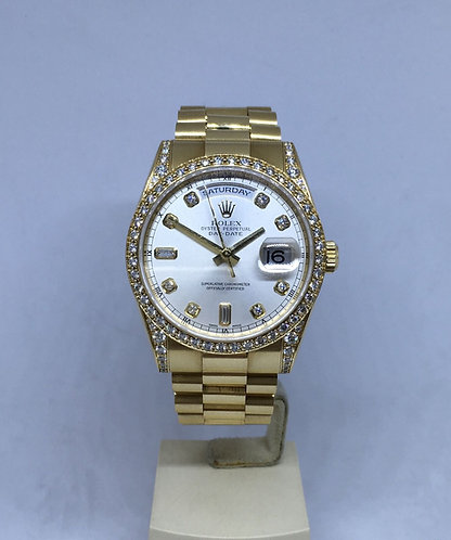 Rolex Day-Date President 118338 FACTORY Diamond Bezel, Dial & Lugs
