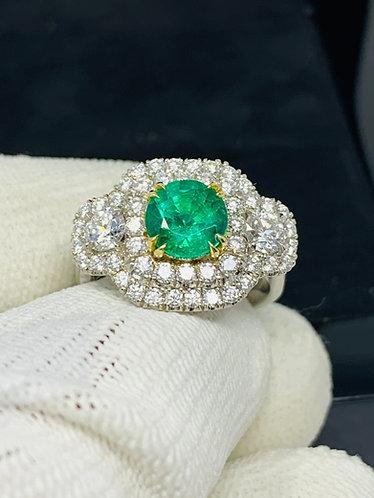 Platinum Brazilian Emerald & Diamond Ring