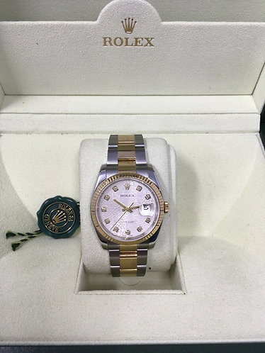 Rolex Datejust 116233 Two-Tone 36mm Jubilee Diamond Dial New Style Box & Papers
