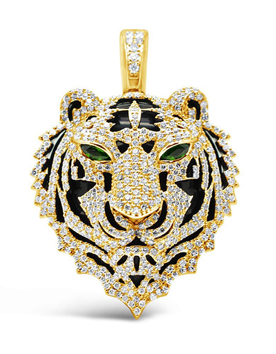 Custom-Made Men's Diamond Tiger Head Pendant