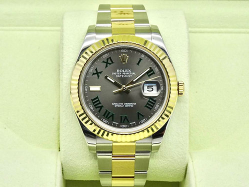 Rolex Datejust II Wimbledon 41mm Slate Green Roman Two-Tone 116333