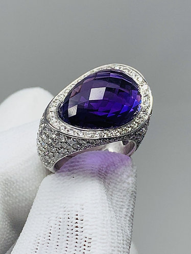 18K White Gold Amethyst Ring with 5CT Diamonds *Top Quality!*