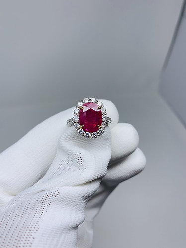 18K White Gold with Yellow Accents Natural Ruby Ring *EGL Certified*