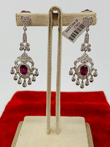 18K White Gold Chandelier Drop Diamond & Ruby Earrings