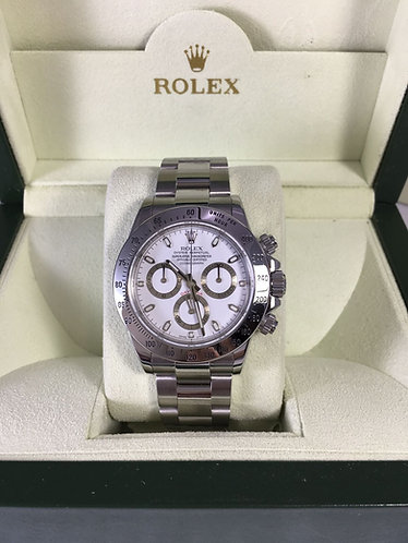 Rolex Daytona Chronograph Stainless Steel White Dial Automatic Mens Watch 116520