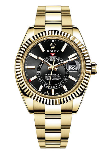 Rolex Sky-Dweller 42MM Yellow Gold 326938 with Black Stick Dial