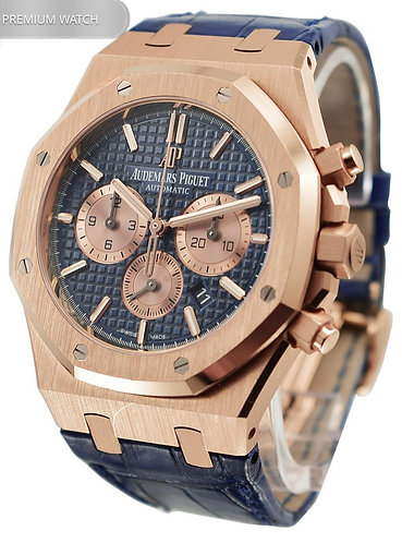 Audemars Piguet Royal Oak 41 MM Chronograph Rose Gold Blue Dial