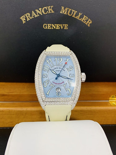 Franck Muller Conquistador White Gold with Factory Diamond Case 8001 SC D