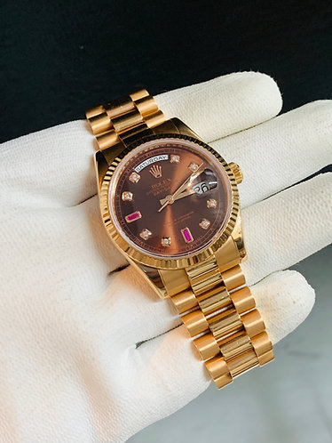 Rolex Day-Date President 36MM Rose Gold Chocolate Ruby Diamond Dial *New Style*