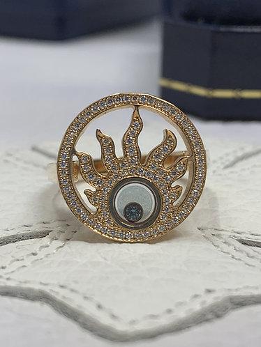Chopard Happy Diamonds Sun 18K Rose Gold Pave Diamond Ring