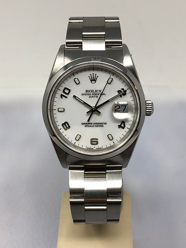 Rolex Date Stainless Steel 34MM White Arabic Dial Ref. 15200 *FULL SET*