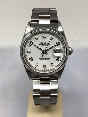 Rolex Date Stainless Steel 34MM White Arabic Dial Ref. 15200 *FULL SET*