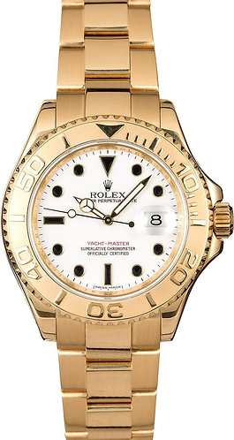 Rolex Yacht-Master 18k Yellow Gold White Ivory Dial 40mm