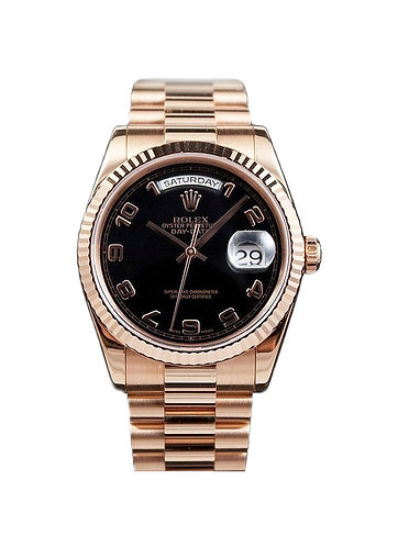 Rolex Day-Date President 36MM Rose Gold Black Arabic Dial *New Style*