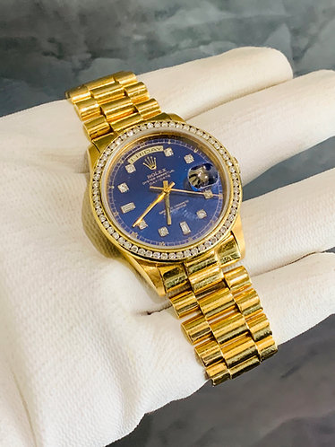 Rolex President Day-Date Custom Diamond Blue Dial & Bezel