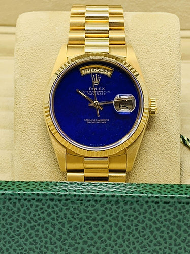 Rolex President Day Date with Factory Lapis Luzuli Dial Full Set