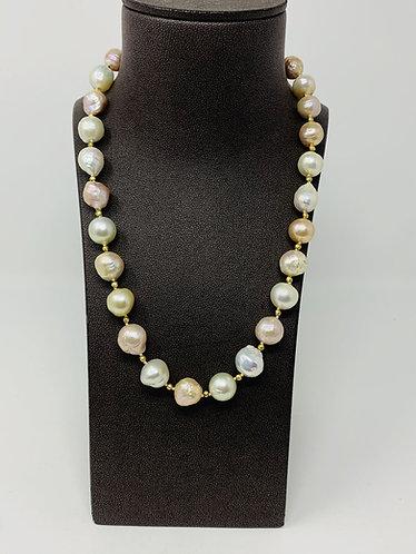 Multi Color Baroque South Sea Pearl Bead Necklace