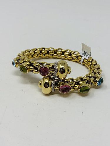 "18K Yellow Gold ""Snake Style"" Bangle with Diamonds & Gemstones"