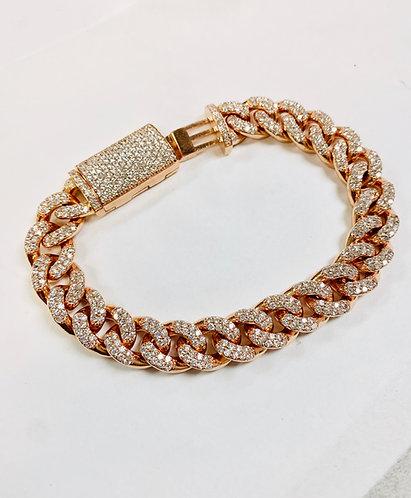 Handmade Miami Cuban 14K Rose Gold Diamond Bracelet