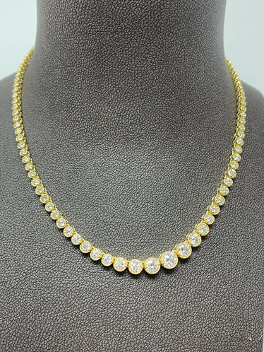 18K Yellow Gold 10CT Diamond Tennis Necklace