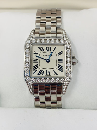 Cartier Santos Demoiselle 18K W-G Finish Watch w/ Top Quality Diamonds