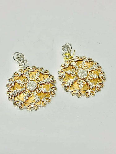 18K Disc Diamond Earrings