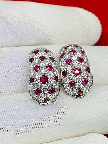 18K White Gold 4CT Diamond & 2CT Ruby Earrings