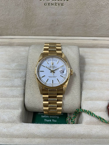 Rolex Day-Date President 36MM 18038 18K Yellow Gold White Stella Dial *MINT!*