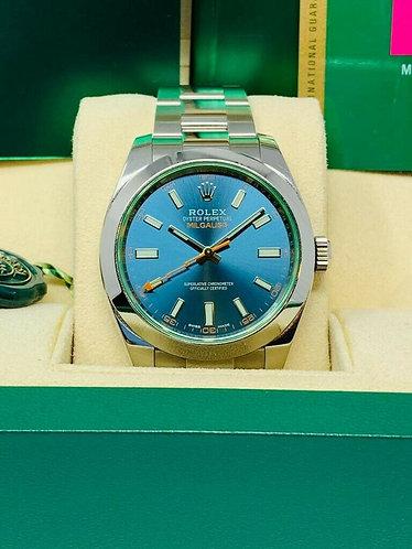 Rolex Milgauss Blue Dial Green Crystal 116400GV *MINT*