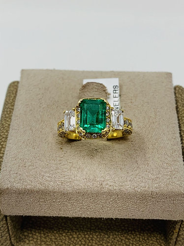 18K Colombian Emerald F1 Ring with VS Quality Diamonds *Top Quality*