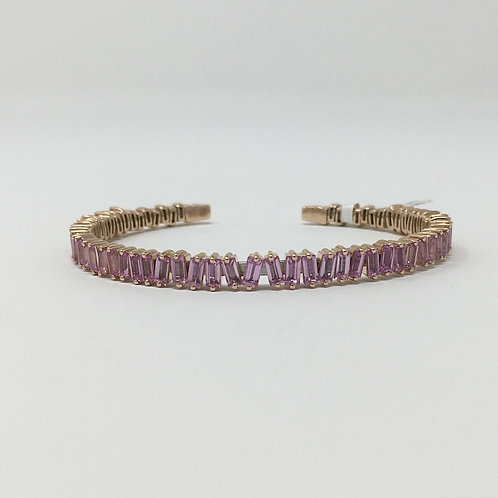 18K Rose Gold Pink Sapphire Bracelet Bangle