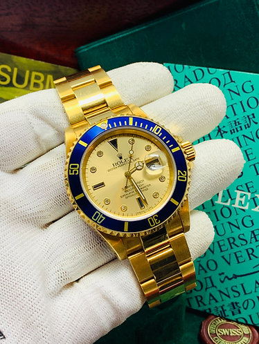 "Rolex Submariner 16618 Factory Serti Diamond Dial MINT CONDTION ""UNPOLISHED"""