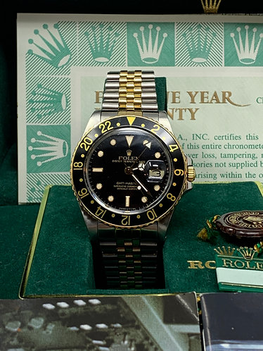 """Rolex GMT Master II 16713 Black Dial Two-Tone Full Set """"ONE OWNER"""""""