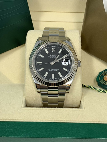 Rolex Datejust II 41MM White Gold Fluted Bezel Black Dial 116334