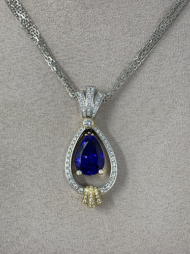 18K White Gold High End Tear Drop Vivid Tanzanite With VS Diamonds Necklace