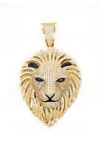 Custom-Made Men's Diamond Lion Head Pendant