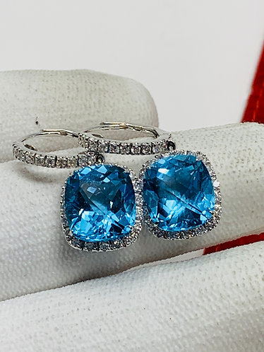 18K White Gold Blue Topaz & Diamond Drop Earrings