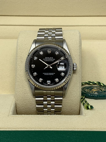 Rolex Datejust Ref. 16234 Factory Black Diamond Dial