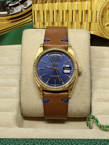 Rolex President Day-Date Rare Blue Dial 18038 *UNPOLISHED*