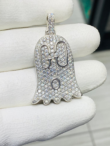 18K White Gold Diamond Ghost Pendant