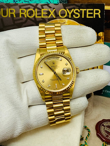 Rolex President Day-Date Ref. 18238 Factory Champagne Diamond Dial *FULL SET*