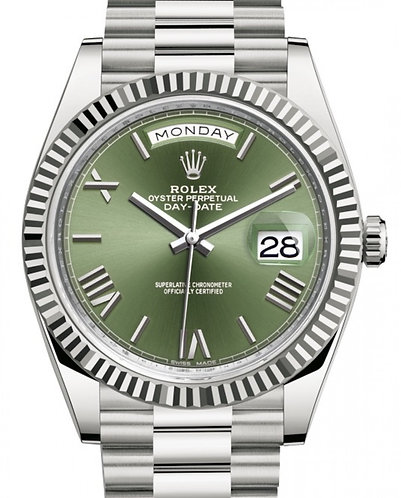 Rolex Day-Date 40MM White Gold Olive Green Roman Dial & Fluted Bezel