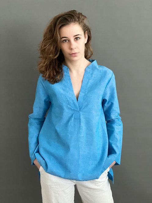 Artikel 10588 -  Tunika Bluse Leinen Baumwolle